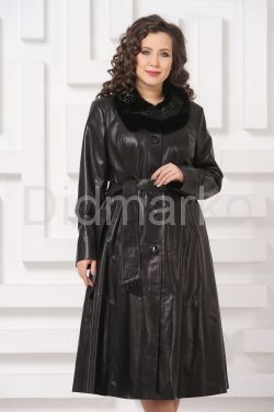 Длинное кожаное пальто FS