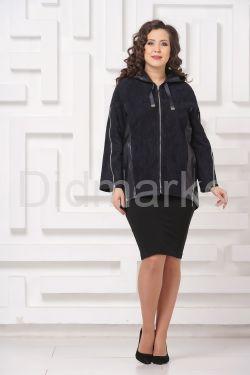 Удлиненная кожаная куртка синего цвета FS