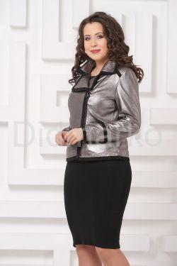 Серебристая кожаная куртка косуха