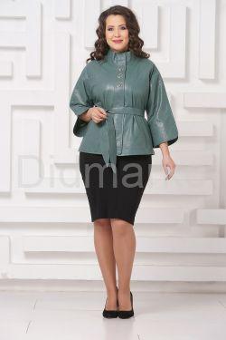 Перфорированная кожаная куртка мятного цвета