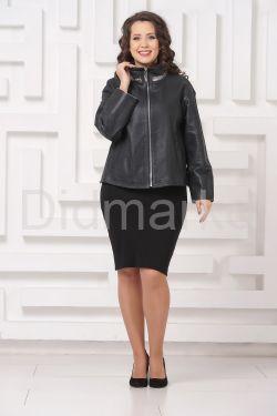 Женская кожаная куртка автоледи цвета берлинской лазури