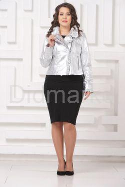 Серебристая кожаная куртка с рюшами