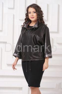 Короткая кожаная куртка с серебристым воротом