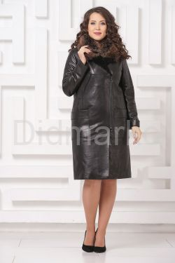 Утепленное кожаное пальто