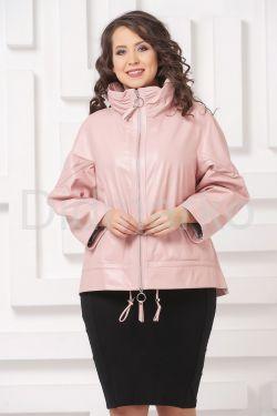 Трапециевидная кожаная куртка розового цвета