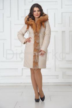 Нежный кожаный пуховик с оторочкой из меха огненной лисы