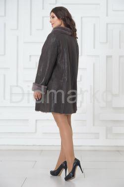 Трапециевидное пальто из овчины с мехом норки