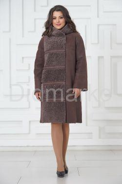 Пальто из овчины в цвете капучино