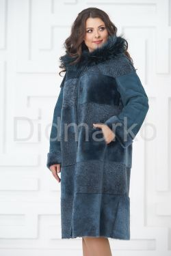 Синее двустороннее пальто из овчины