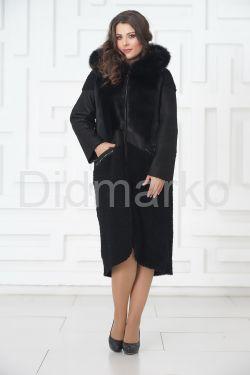 Роскошное пальто из меха овчины