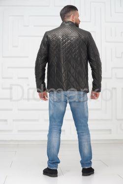 Стеганая кожаная куртка на молнии