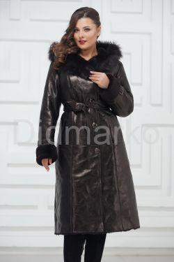 Зимнее пальто из овчины черного цвета