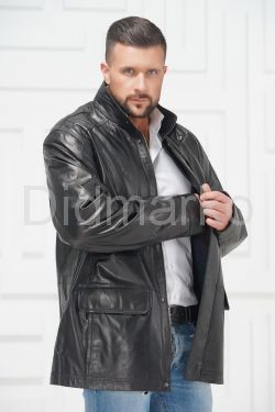 Удлиненная мужская кожаная куртка