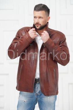 Короткая мужская кожаная куртка больших размеров