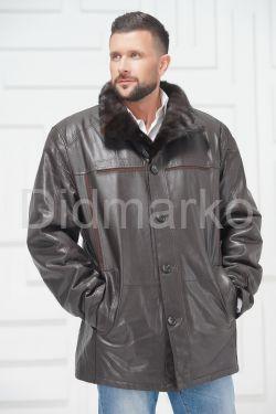 Мужская кожаная куртка на меху больших размеров