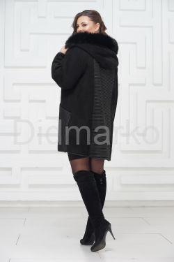 Женская дубленка из овчины с капюшоном
