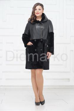 Двубортное двустороннее пальто из овчины