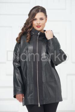 Кожаная куртка большого размера с молниями по бокам