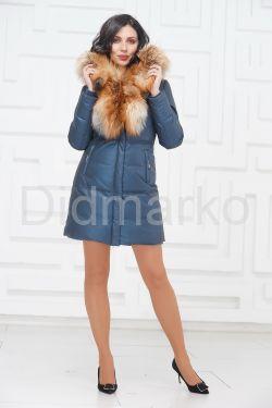 Кожаный пуховик с мехом огненной лисы