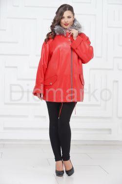 Женская кожаная куртка кораллового цвета