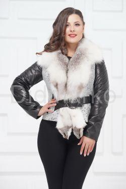 Комбинированная курточка с белым воротником