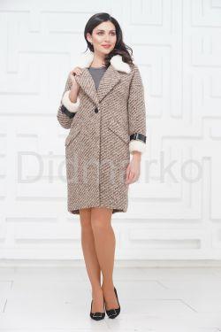 Однобортное пальто с мехом норки
