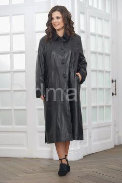 Длинный кожаный плащ черного цвета