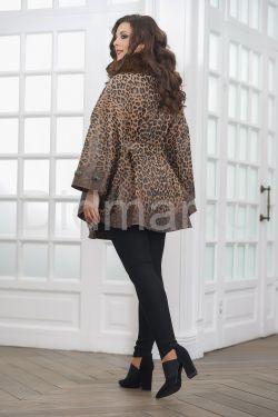 Леопардовый пончо из замши