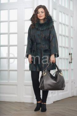 Изумрудное пальто из замши