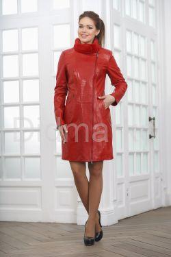 Кожаное пальто с выделкой под кроку