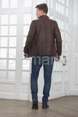 Мужская кожаная куртка в стиле Сафари
