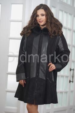 Трапециевидное кожаное пальто с капюшоном