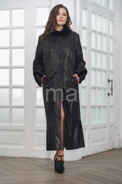 Длинное итальянское пальто из замши