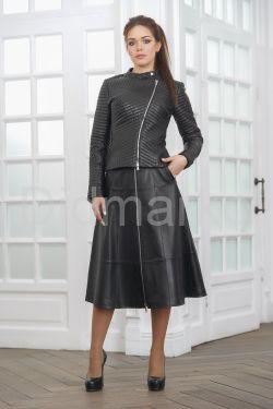 Молодежная стеганая кожаная куртка косуха весна 2019