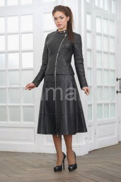 Молодежная стеганая кожаная куртка косуха весна 2021