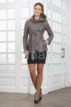 Классическая кожаная куртка с капюшоном