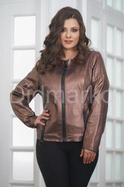 Короткий  женский кожаный пиджак