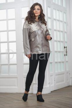 Кожаная женская куртка со вставками из натурального питона