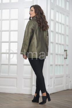 Удлиненная кожаная куртка косуха цвета хаки