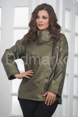 Удлиненная кожаная куртка цвета хаки