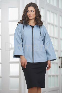 Женская кожаная куртка небесного цвета