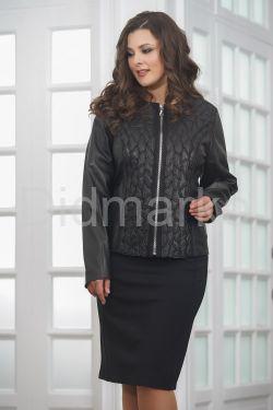 Женский дизайнерский кожаный пиджак на молнии