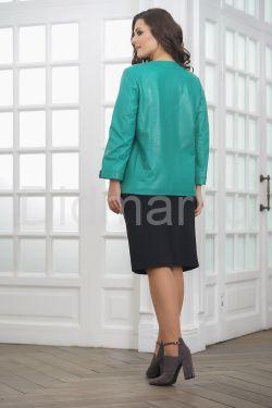 Весенняя кожаная куртка больших размеров бирюзового цвета2021