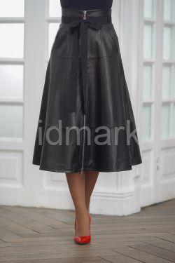 Кожаная юбка с корсетным поясом 2019