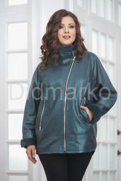 Демисезонная кожаная куртка изумрудного цвета
