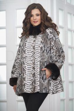 Женская демисезонная кожаная куртка под питона