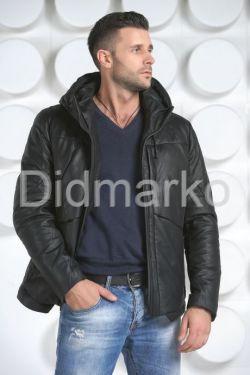 Мужской кожаный пуховик с капюшоном
