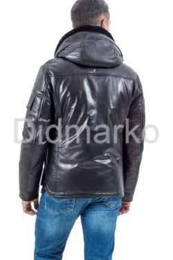 Стильный кожаный пуховик черного цвета