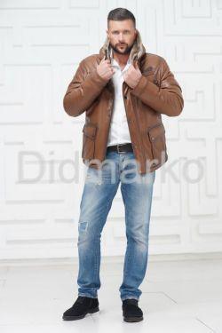 Стильный кожаный пуховик