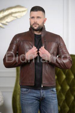 Короткая мужская кожаная куртка Осень2019
